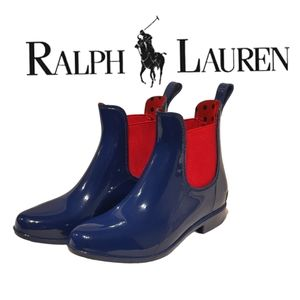 Ralph Lauren Rain Boots, Blue and red size 6,